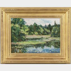 Bernard Corey (American, 1914-2000)      Landscape with Lily Pond