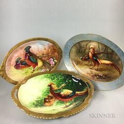 Three Limoges Hand-painted Porcelain Pheasant Platters