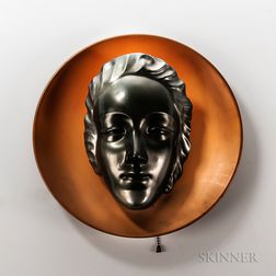 Ceramic Mask and Copper Wall Sconce