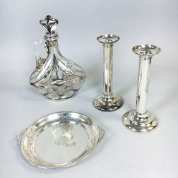 Pair of Sterling Silver Weighted Candlesticks, a Gorham Sterling Silver Footed Bowl with handles, and a Silver Overlay Decanter