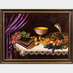 American School, Late 19th Century      Tabletop Still Life with Fruit, Flowers, and Compote
