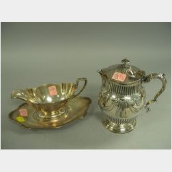 Gorham Sterling Silver Gravy and Undertray and a Scottish Silver Plated   Teapot