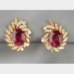 18kt Gold, Rubellite, and Diamond Earclips
