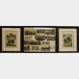 Two Framed Hand-colored Prints Boston Scenes   and Boston Suburbs