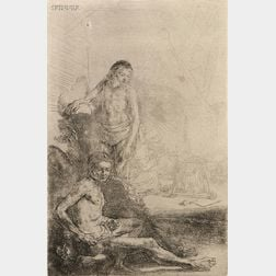 Rembrandt van Rijn (Dutch, 1606-1669) Nude Man Seated and Another Standing, with a Woman and Baby Lightly Etched in the Background, c.