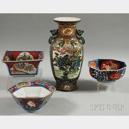 Three Japanese Imari Porcelain Bowls and an Enamel-decorated Vase