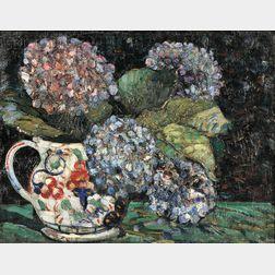 Hayley Lever (American, 1875-1958)      Still Life with Hydrangeas