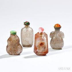 Four Crystal Snuff Bottles
