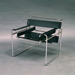 Wassily-style Tubular Steel and Black Leather Lounge Chair