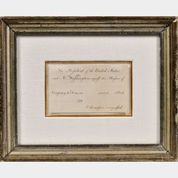 Washington, George (1732-1799) Engraved Presidential Invitation c. 1790, Unsigned.