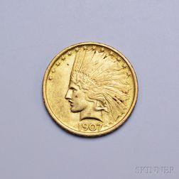 1907 Ten Dollar Indian Head Gold Coin