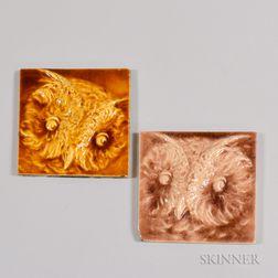 Two Possibly Kensington Art Tile Co. Owl Art Pottery Tiles