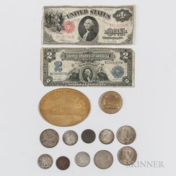 Small Group of American Coins, Medals, and Currency