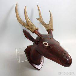Carved and Stained Wood and Horn Elk Head Trophy