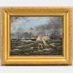 F.B. Knox (British, b. 1893)      Paddlewheel Steamer Nearing Lighthouse in Rough Seas