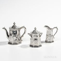 Three-piece William Gale Sterling Silver Tea Service