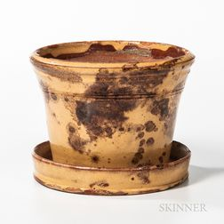 Yellow Slip and Manganese-decorated Glazed Redware Flowerpot
