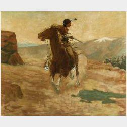 School of William Elling Gollings (American, 1878-1932)  Cheyenne Spirited Indian, Sheridan, Wyoming