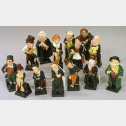 Fourteen Royal Doulton Porcelain Dickens Figures