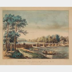 Nathaniel, Currier, publisher (American, 1813-1888)    View on the Harlem River, N.Y.:  The Highbridge in the Distance.
