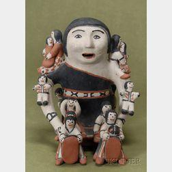 Southwest Polychrome Pottery Story Teller Figure