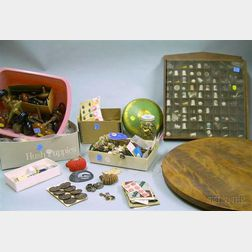 Collection of Porcelain and Silver Thimbles, Assorted Buttons, and a Box of Victorian Bronze and Bennington Doo...