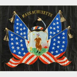Japanese Souvenir Silk Embroidered Needlework of the Massachusetts State Seal