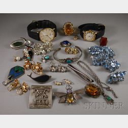 Small Group of Mostly Silver and Costume Jewelry