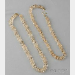 Two Citrine Bead Necklaces