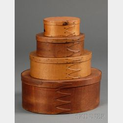 Four Shaker Graduated Oval Covered Storage Boxes