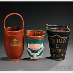 Three Reproduction Leather Fire Buckets