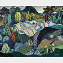 Leighton R. Cram (American, 1895-1981)      Mountain View with a Ravine
