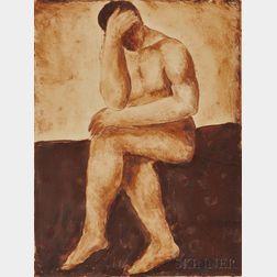 Abraham Walkowitz (American, 1878-1965)      Pensive Nude.