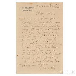Renoir, Pierre-Auguste (1841-1919) Autograph Letter Signed, 9 November 1912.