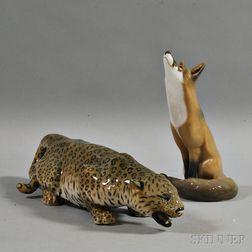 Royal Copenhagen Jaguar and Fox Figures