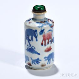 Blue and Flambe-glazed White Porcelain Bottle