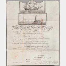 Van Buren, Martin (1782-1862) Signed Ship's Passport, 24 November 1837.
