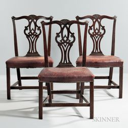 Set of Three Leather-upholstered Carved Mahogany Side Chairs
