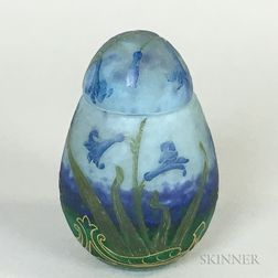 Small Daum Cameo Glass Egg-form Jar