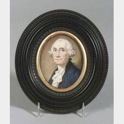 American School, 19th Century  Miniature Portrait of George Washington.