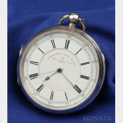 Victorian Sterling Silver Chronograph Centre Seconds Open Face Pocket Watch