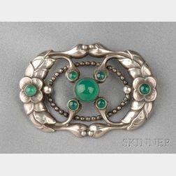 .830 Silver and Green Onyx Brooch, Georg Jensen