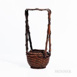 Lacquered Bamboo Ikebana Basket