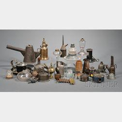 Twenty-eight Assorted Early Lighting Items