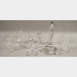 Eight Val St. Lambert Colorless Art Glass Collector and Figural Items