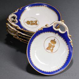 Six Kuznetzov Shell-shaped Porcelain Butter Dishes