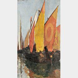 Otto Henry Bacher (American, 1856-1909)      Venetian Sailboats