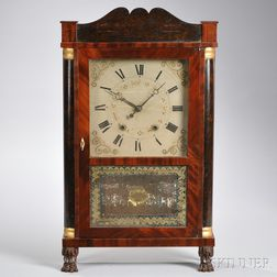 E. Terry & Son Stenciled Transitional Shelf Clock