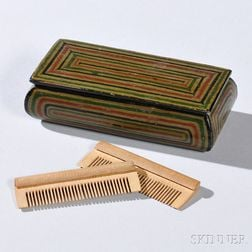 Small Painted-decorated Comb Box