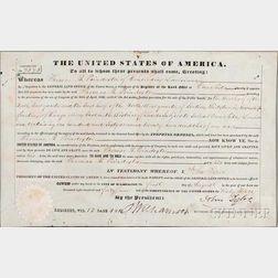 Tyler, John (1790-1862) Document Signed, 1 August 1869.